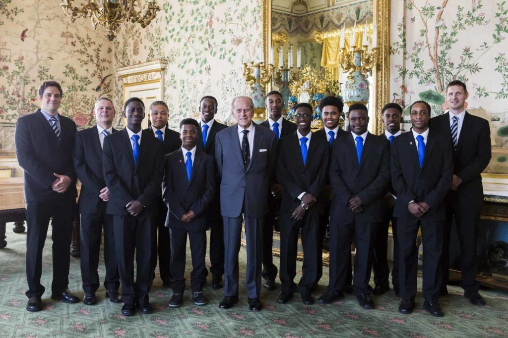 Team Scaramouch with HRH Prince Philip at Buckingham Palace