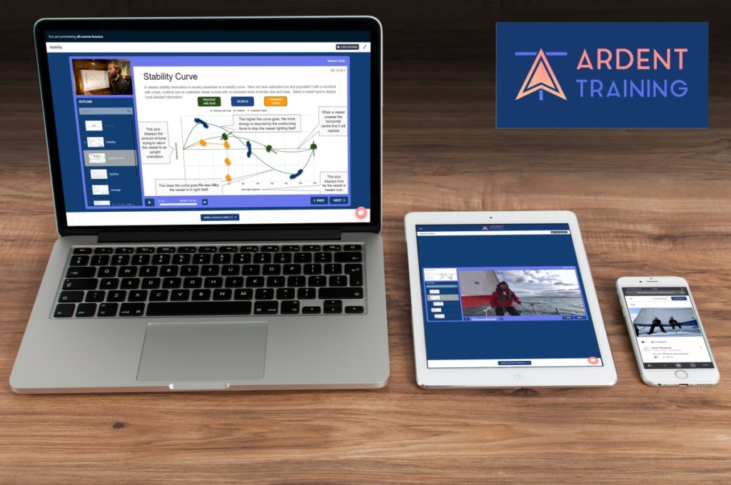 Ardent Training RYA online training course as shown on a laptop, tablet and mobile phone.