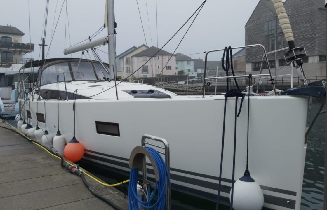 Jeanneau 54 DS yacht moored up after the delivery sail from Spain to the UK
