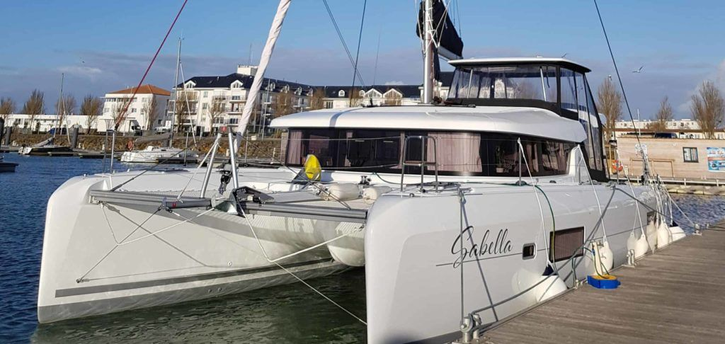 A Lagoon 42 catamaran moored up and ready for the delivery trip to Lisbon