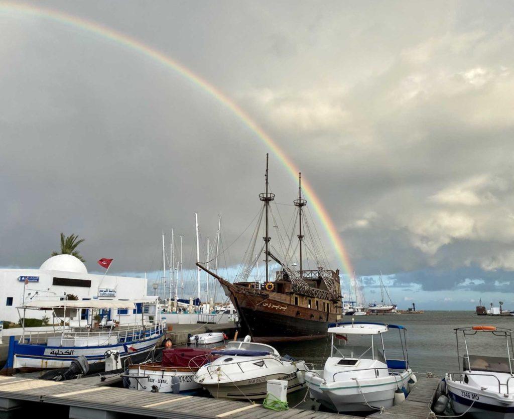 Rainbow over the marina at Monastir in Tunisia.