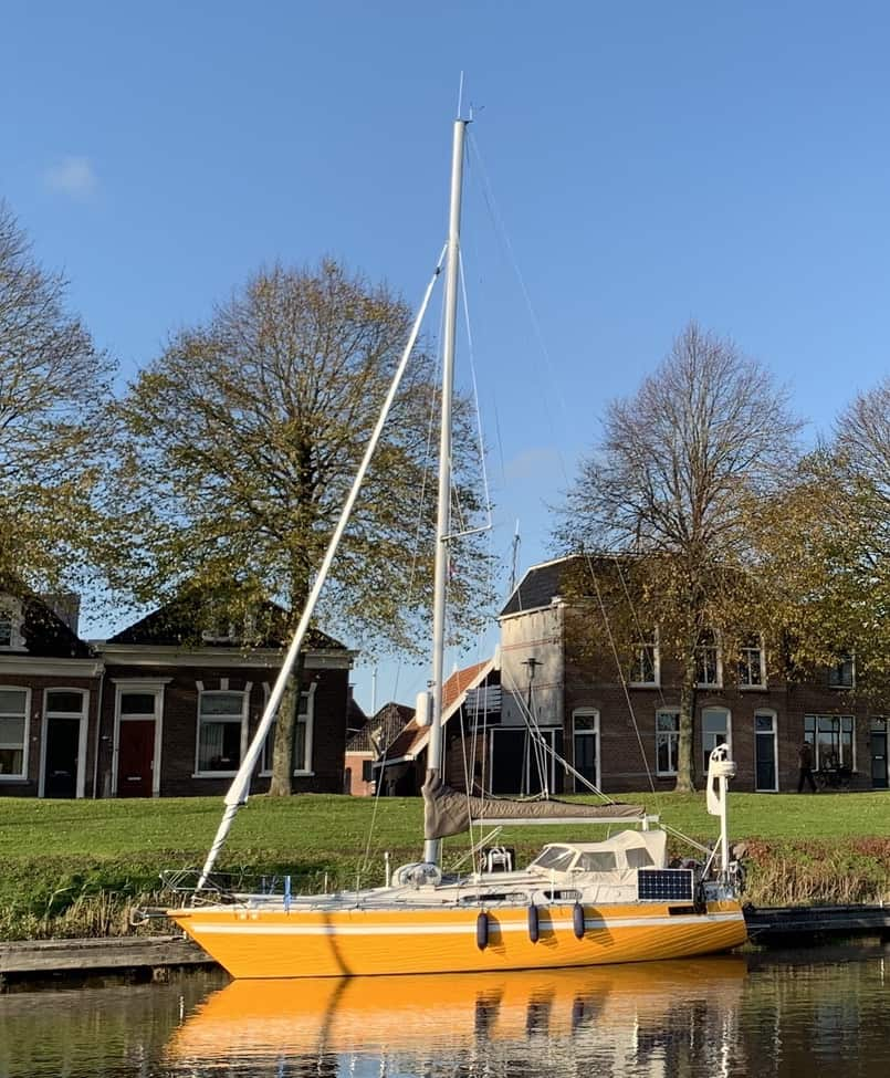 Scanmar 33 yacht moored up in AMsterdam ready for delivery to Las Palmas.