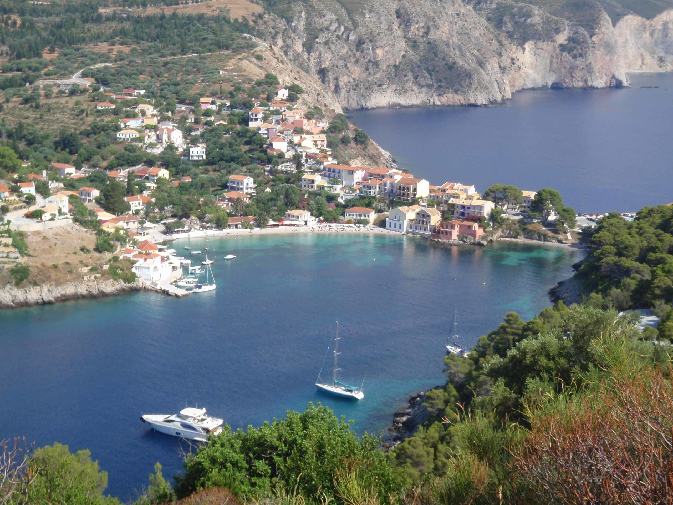 Looking down at the yachts in Assos bay