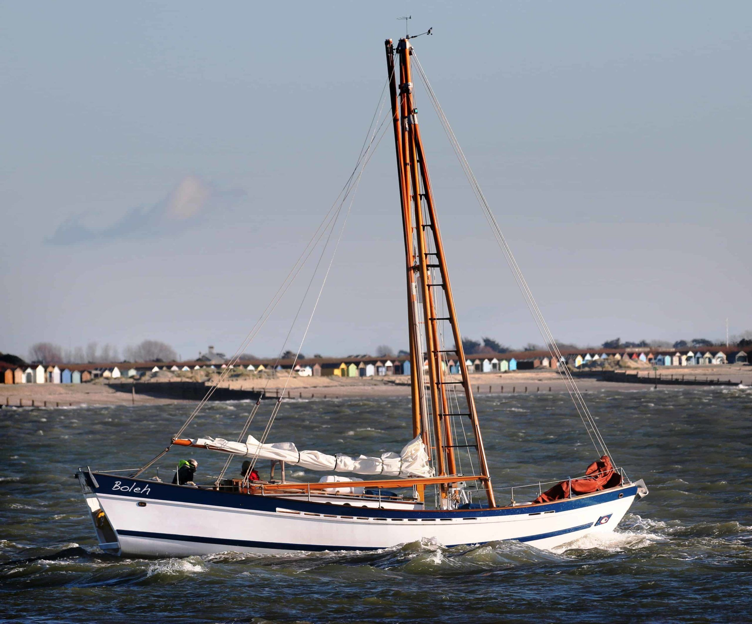 A Classic yacht motoring on delivery to Chichester