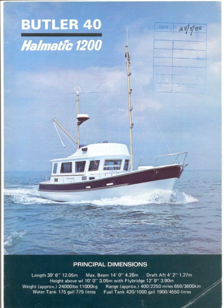 Front cover of original brochure for the Halmatic Butler 40.