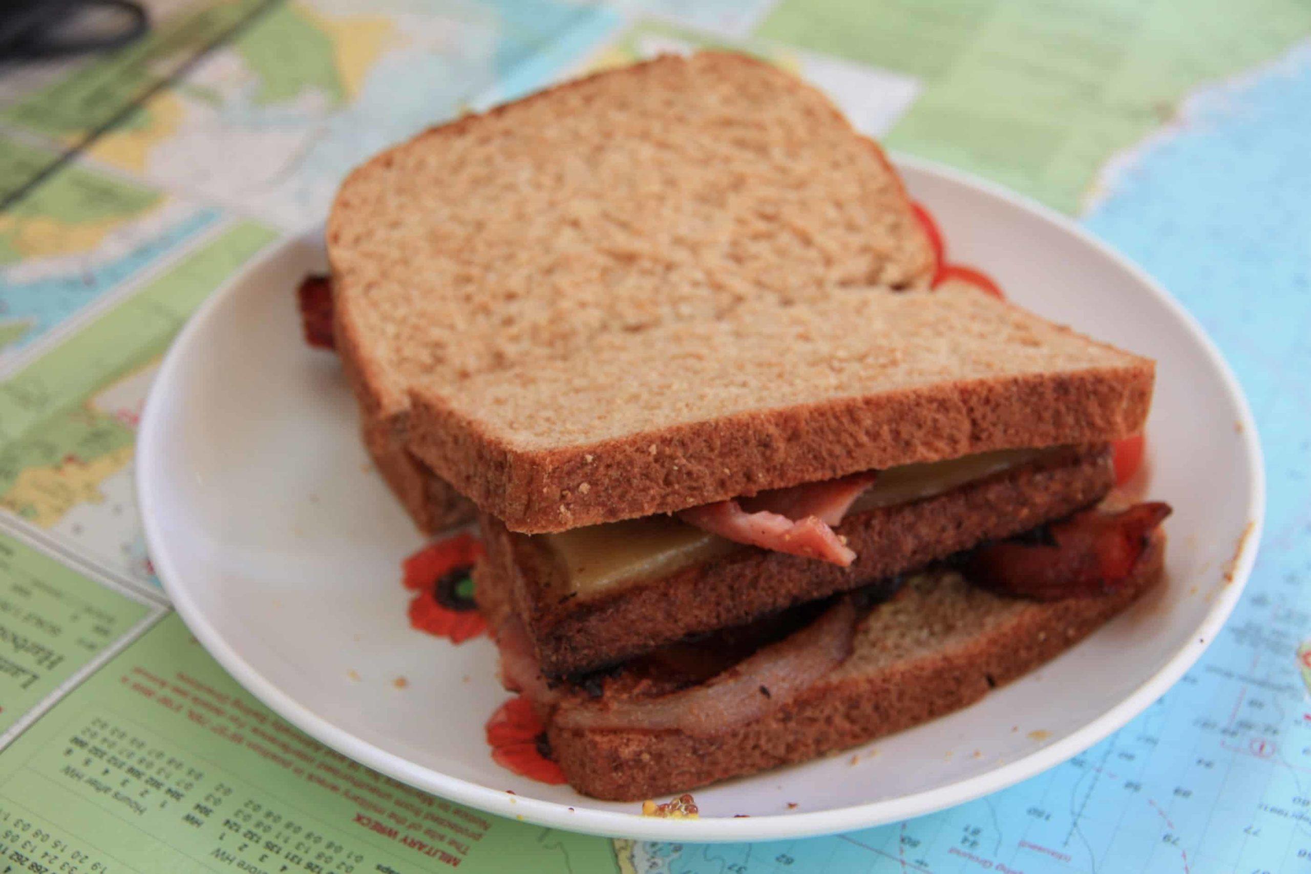A lovely sandwich on a yacht