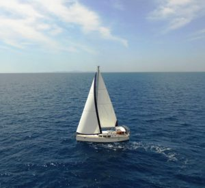 Yacht on delivery under full sail to Turkey.