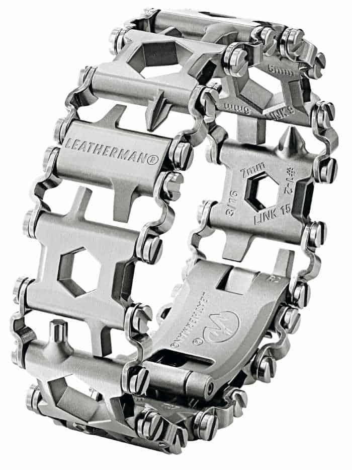 Stock photo of a Leatherman tool bracelet.