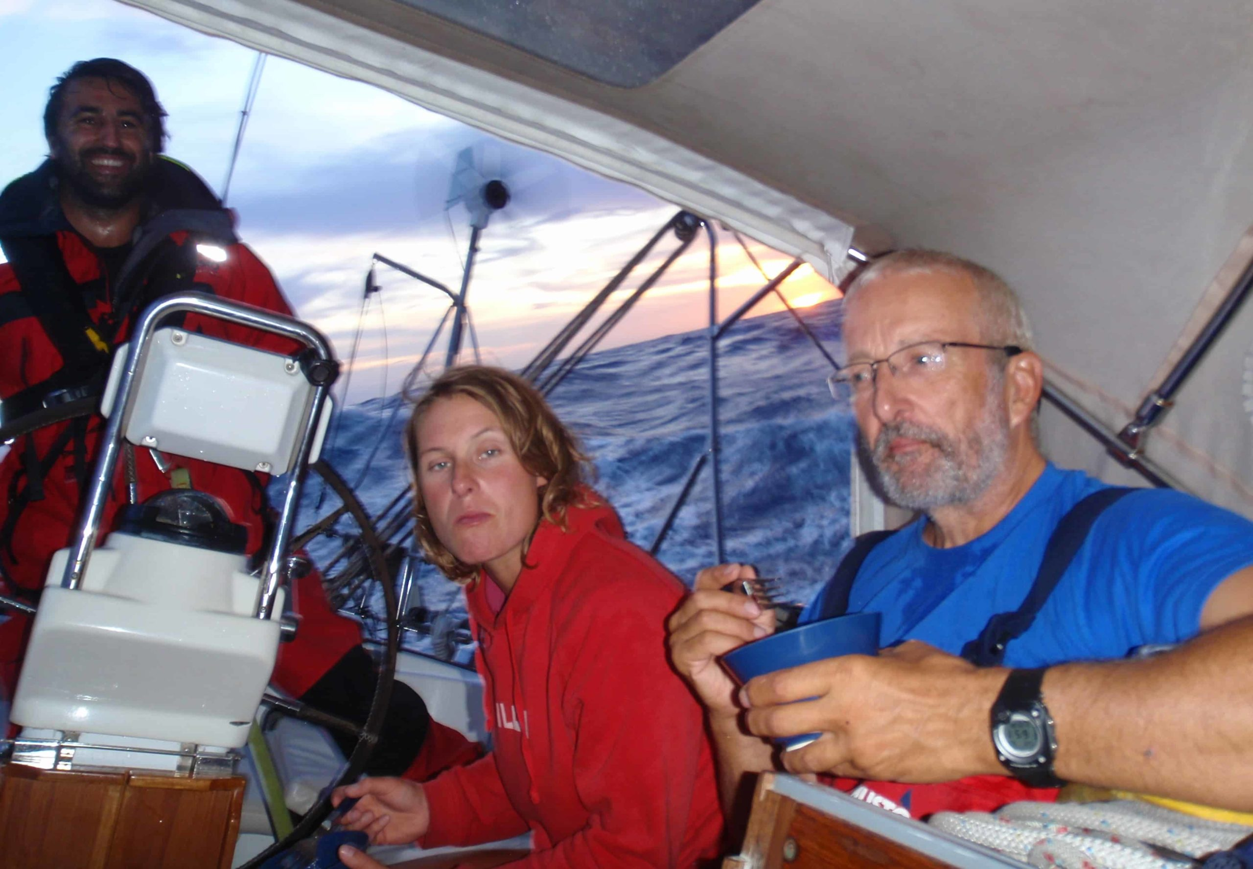 Crew meal time on a yacht delivery in the middle of the Atlantic