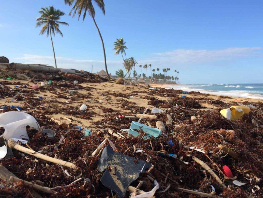 Plastic on a tropical beach