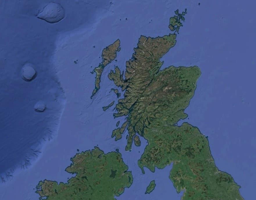 Satellite view of Scotland and Northern Ireland