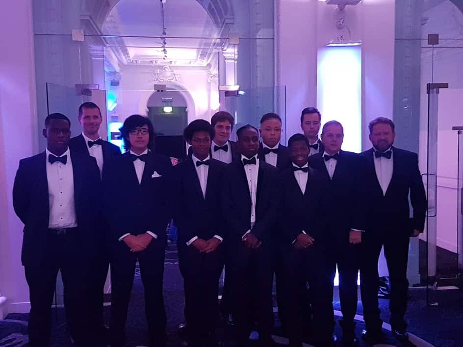 Team Scaramouche all dressed up and looking smart for the 2017 RORC dinner in London