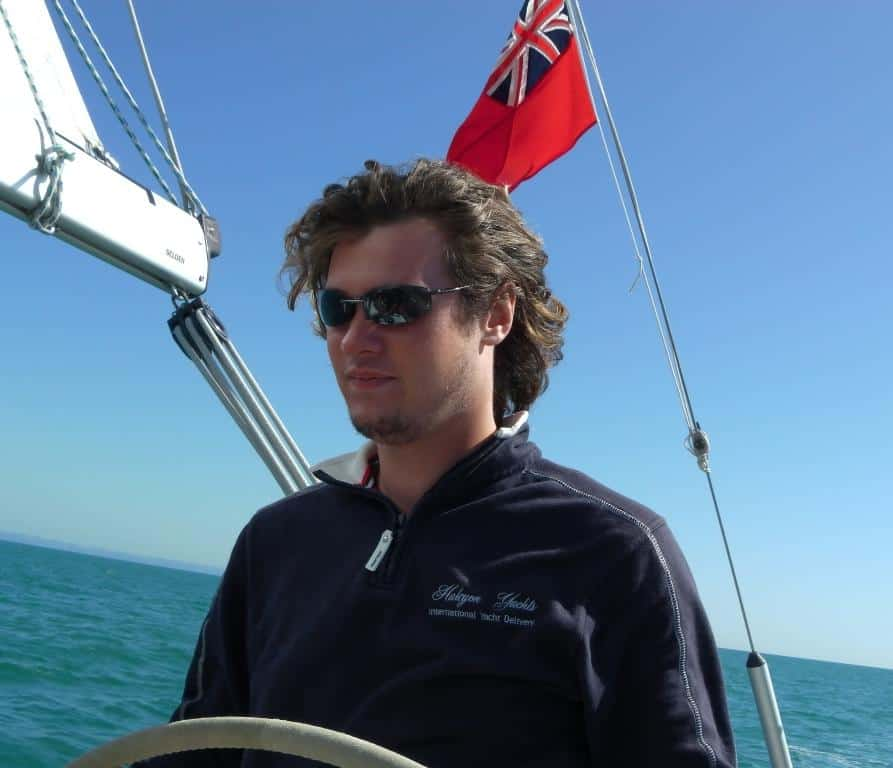 Skipper Louis Abbott sailing on a yacht delivery.
