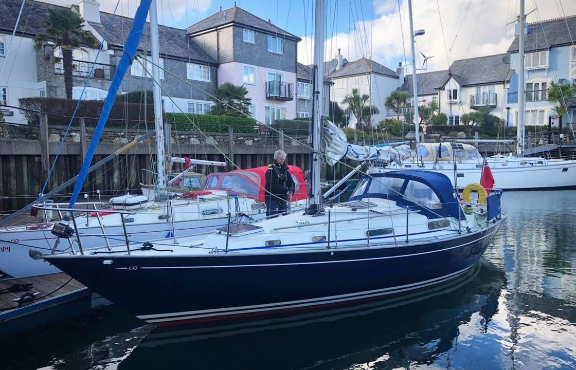 Contessa 32 yacht safely arriving at Pendennis Marina