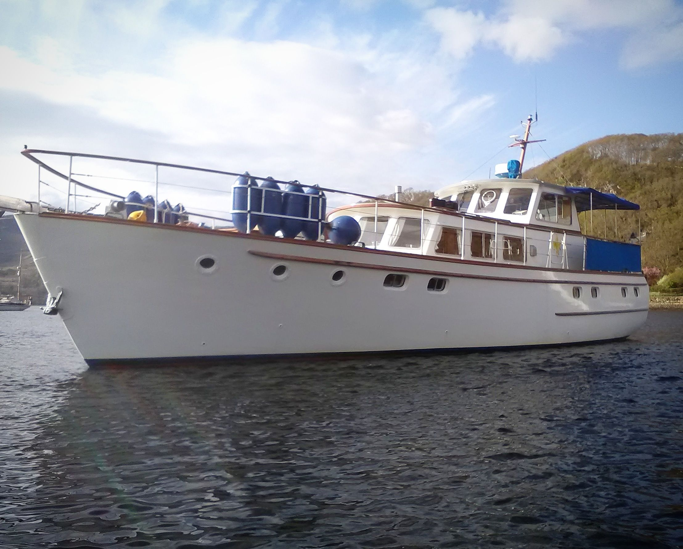 Fleur de Lys 58 motoryacht moored up and ready for delivery to Gibraltar.