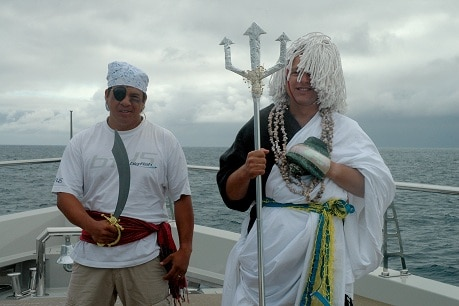 yacht delivery crew dressed up for the crossing of the equator